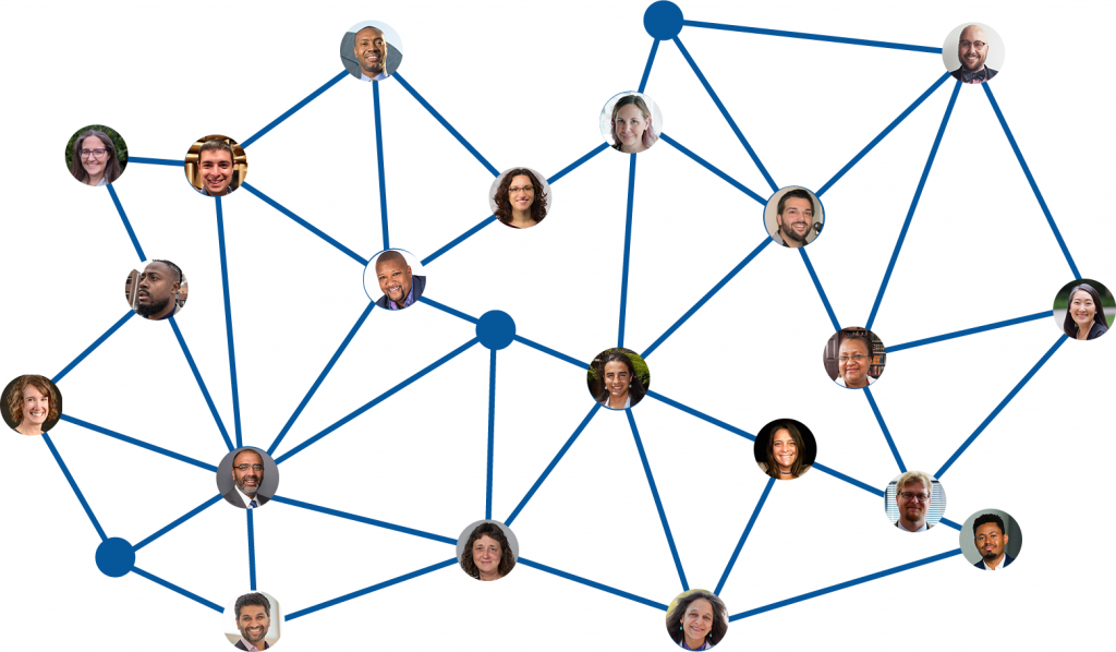 Network web with speaker headshots at the connecting points