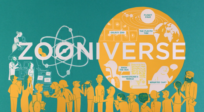 Zooniverse image with people speaking and working on science