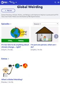 Screenshot showing links for several episodes of Global Weirding